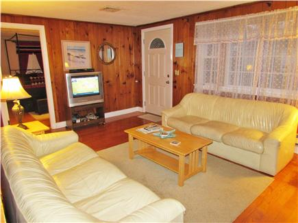 Dennisport Cape Cod vacation rental - Living Room with fireplace and TV