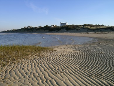 Eastham Cape Cod vacation rental - View of house across the beach as tide recedes