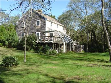 North Eastham Cape Cod vacation rental - 1/2 acre lot,back yard, two decks & green house, outside shower