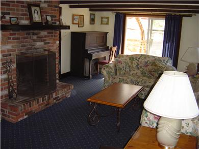 North Eastham Cape Cod vacation rental - Living Room with fireplace - 14x26 feet
