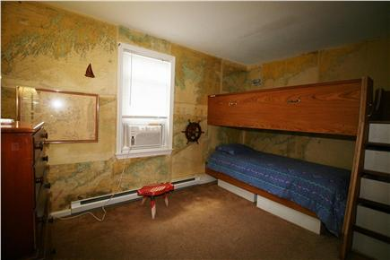 HarwichPort Cape Cod vacation rental - Bed 3 - A/C, twin bunks, glimpse of the Sound & a working Wheel!