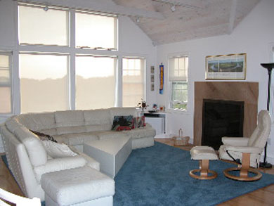 Truro Cape Cod vacation rental - Living Room with Window Wall, Fireplace and comfy furniture
