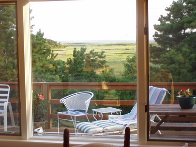 Wellfleet Cape Cod vacation rental - View to SSW off Large Deck Lt. Isle & Cape Cod Bay