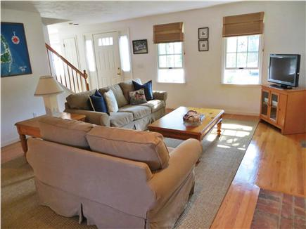 Harwichport, south of Route 28 Cape Cod vacation rental - Comfortable & Spacious Family Room with new Pottery Barn sofas