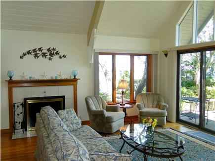 Plymouth MA vacation rental - Large living area, with fireplace and water views