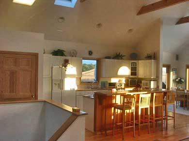 Truro Cape Cod vacation rental - Kitchen & Island with four Barstools and two skylights