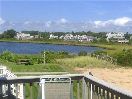 West Dennis Cape Cod vacation rental - View of the salt water pond from the deck