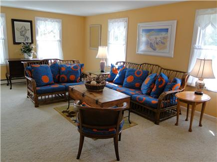 Falmouth Cape Cod vacation rental - Large living room with library and TV