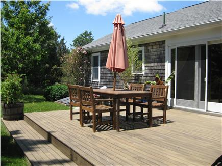 Brewster Cape Cod vacation rental - Deck offers privacy, comfortable dining & outdoor shower