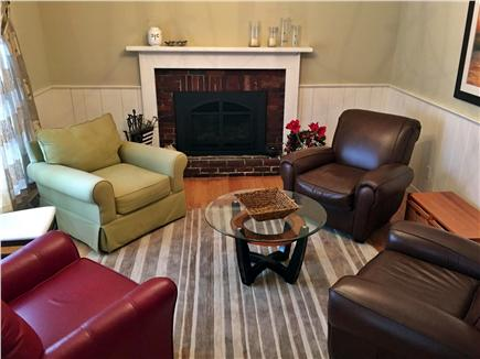 West Harwich Cape Cod vacation rental - Gas Fireplace room with four comfortable seats