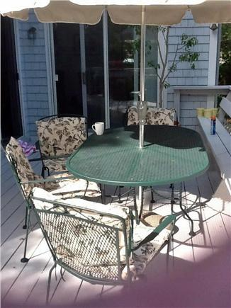 Falmouth, Waquoit Bay Cape Cod vacation rental - Dining set on back deck overlooking pond