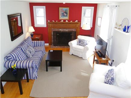 Chatham Cape Cod vacation rental - Living room from kitchen, new furniture and flat screen HDTV