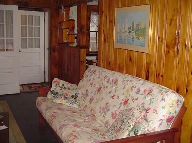 Mashpee, Popponesset Beach Cape Cod vacation rental - Pine Panel LR With Comfy Futon