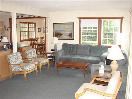 West Dennis Cape Cod vacation rental - Living room opens onto deck. Views to beach.