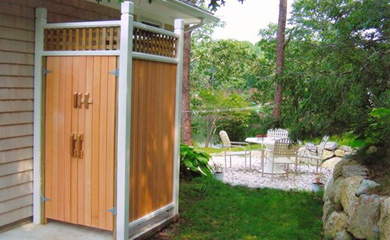 Chatham Cape Cod vacation rental - Outdoor shower and outdoor dining area overlooking pond