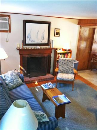East Orleans - Nauset Heights Cape Cod vacation rental - Living room, real fire place.