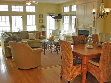 Popponesset Beach - Mashpee Cape Cod vacation rental - Comfortable living w/dining for 8 & slider to oceanfront deck