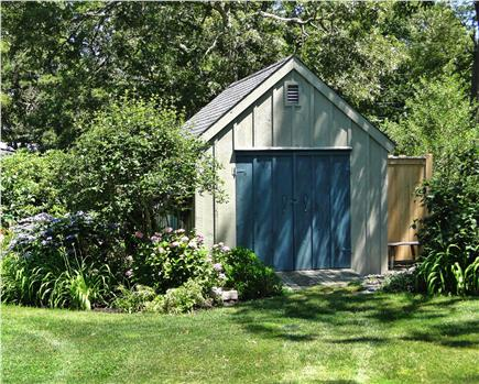 Chatham Cape Cod vacation rental - New oudoor shower to the right of the shed