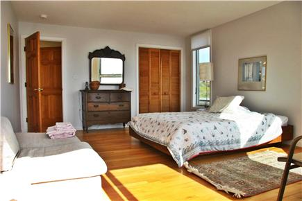 North Truro Cape Cod vacation rental - Queen bedroom with sliders on deck looking towards Provincetown