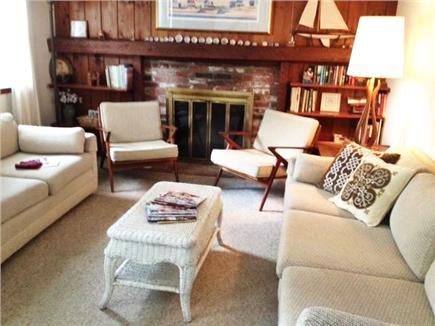 Harwich Cape Cod vacation rental - Living room with fireplace
