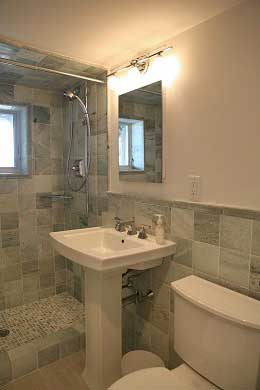 Chequessett Neck Wellfleet Cape Cod vacation rental - Master bath with honed-marble tiles