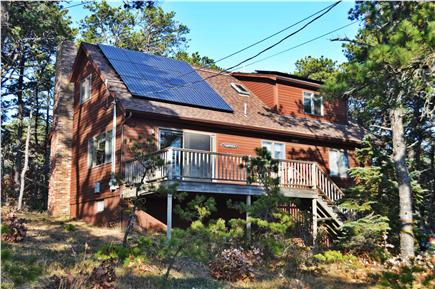 Wellfleet Cape Cod vacation rental - Front view of the deck and our new solar installation