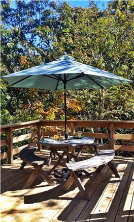 Brewster Cape Cod vacation rental - Deck - Guest House (table with 6 chairs and umbrella)