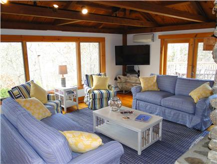 Brewster Cape Cod vacation rental - Large lofted living room with flatscreen TV, newly furnished