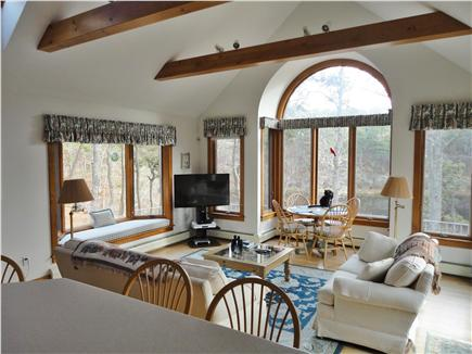 Chatham Cape Cod vacation rental - Family Room with eating nook overlooking pond.