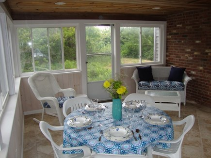 Eastham Cape Cod vacation rental - 3 Season - Screened In Porch with Wicker Sitting Areas