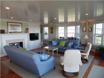 Barnstable Village Cape Cod vacation rental - Gracious living room has TV and overlooks the back lawn and beach