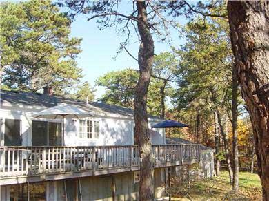 Wellfleet Cape Cod vacation rental - Deck from Backyard