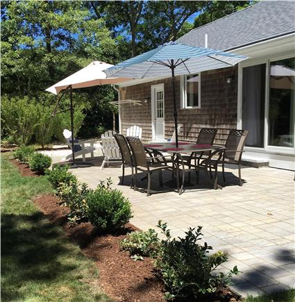 Dennis Cape Cod vacation rental - Quiet, private backyard with patio set, grill and outdoor shower.