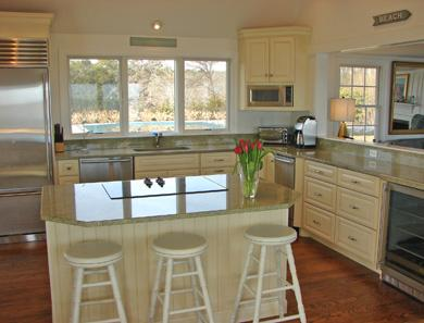 North Chatham Cape Cod vacation rental - Modern kitchen with top of the line appliances overlooks pool