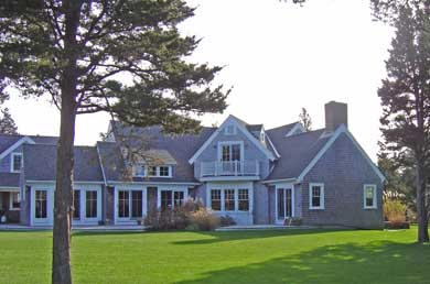 East Orleans Cape Cod vacation rental - Back view of home, full length deck, and large back yard