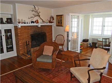 Woods Hole Woods Hole vacation rental - Living room fireplace, showing French doors to sun porch