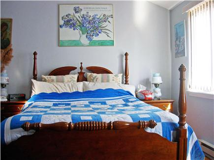 Brewster Cape Cod vacation rental - Bedroom with queen four poster.  Above is a cathedral ceiling.
