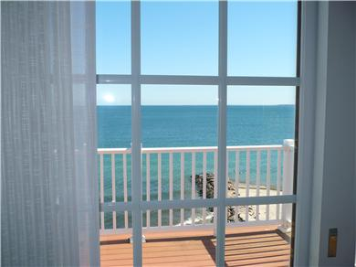 Falmouth Heights Cape Cod vacation rental - View from a bedroom of the beach and jetty to hear waves crash!