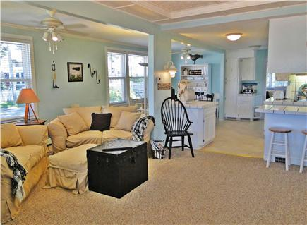 Onset on Water Street Inlet MA vacation rental - Living Room w/ TV, DVD, Video & Wi-Fi opening to DR & Kitchen