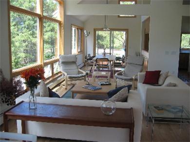 So.Wellfleet Cape Cod vacation rental - Living and dining area; glass doors to 2nd floor deck