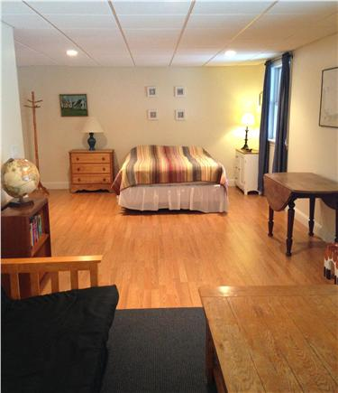 West Brewster / East Dennis  Cape Cod vacation rental - Lower level w/ Queen + Queen futon, sitting area, T.V., and patio