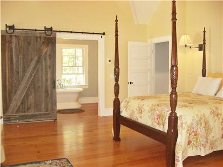Wellfleet Cape Cod vacation rental - Upstairs Master Bedroom, Barn Door to Bath