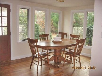 South Yarmouth Cape Cod vacation rental - New bright dining area overlooking backyard and patio.