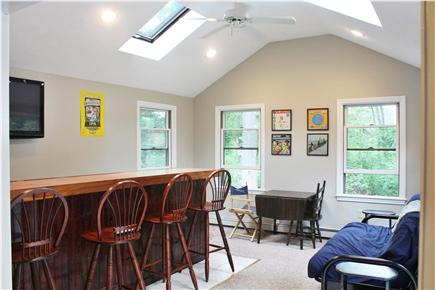 West Falmouth/Old Silver Beach Cape Cod vacation rental - Party Room - bar, flat screen TV, Futon, games, refrigerator
