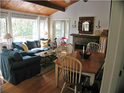 South Wellfleet Cape Cod vacation rental - Living/dining area, overlooking upper deck.