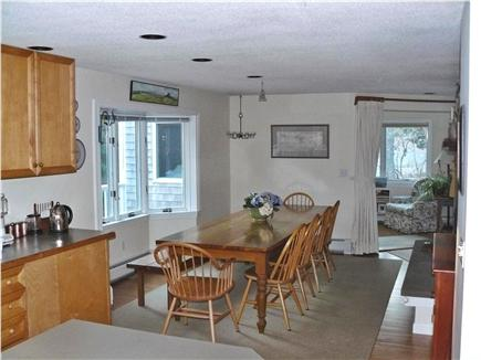 East Orleans Cape Cod vacation rental - Dining room from kitchen (sun room entry in right background)