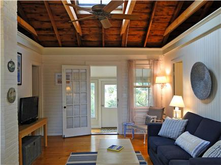 West Dennis Cape Cod vacation rental - Living room with vaulted ceilings, skylight, AC & flat screen TV