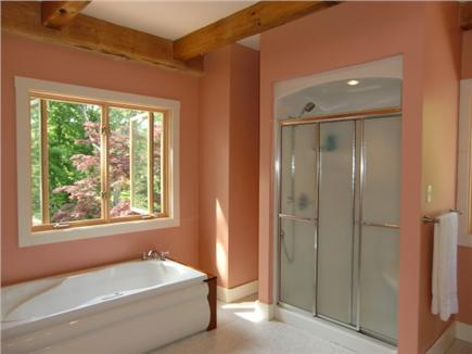 9 Pond Road, Orleans Cape Cod vacation rental - Master bath with Maax Aerofeel Tub & seated shower (2nd Level)