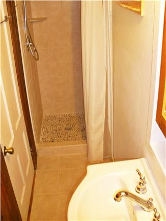 Dennis Village, Scargo Lake Cape Cod vacation rental - Updated bathroom with tiled shower