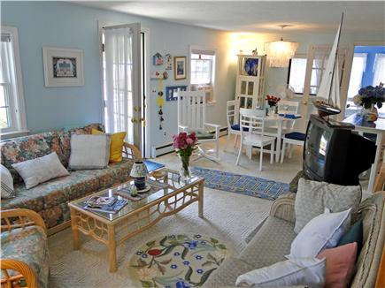 Harwich near restaurants, shopping, and deep sea fishing, also located near ferry to Nantucket Cape Cod vacation rental - Living room with new flat-screen HD TV (not shown)